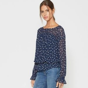 Joie Lystra Floral Print Silk Navy Top Blouse